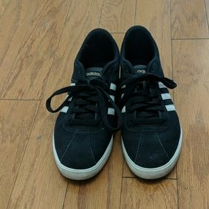 Adidas Black and White Suede Sneakers